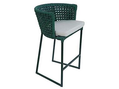 Banquetas altas em fibra sintética com mesa em aluminio e tampo de vidro