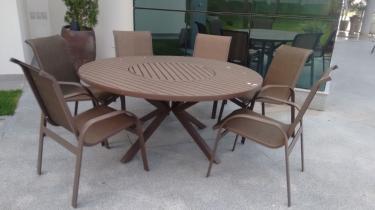 Mesa Zurick e 6 Cadeiras Tela Sling